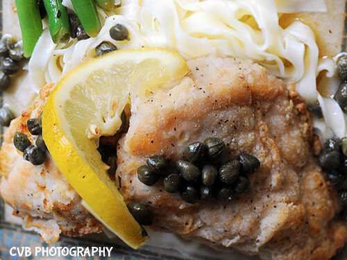 gluten-free chicken piccata and fettuccine
